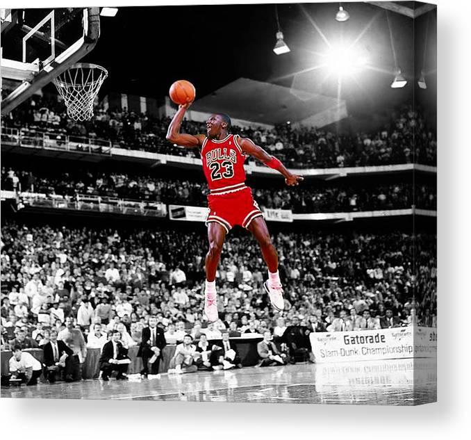 Michael Jordan Slam Dunk Contest Canvas Print   Canvas Art by Brian Reaves c4178486ef