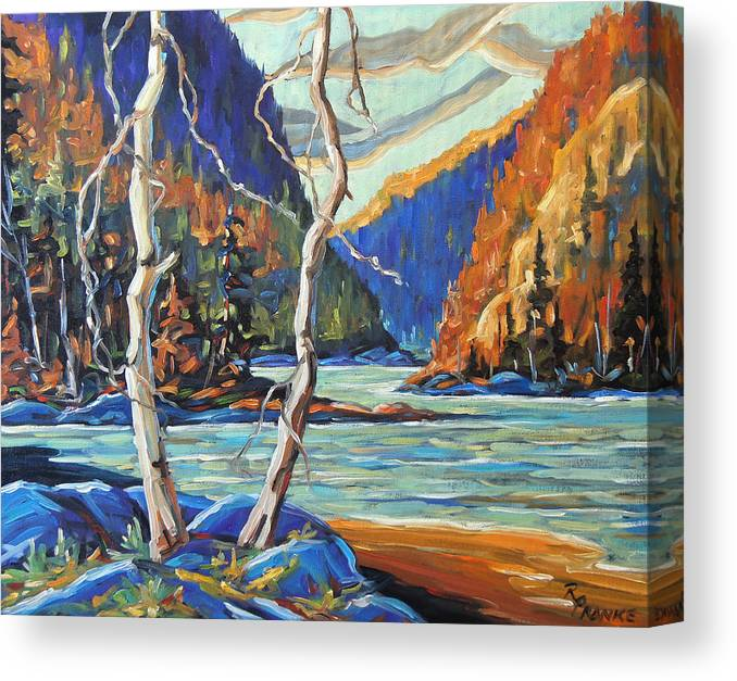 Canadian Rural Scene Created By Richard T Pranke Canvas Print featuring the painting North West Lake By Prankearts by Richard T Pranke