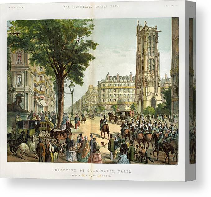 1859 Canvas Print featuring the painting Paris Boulevard, 1859 by Granger