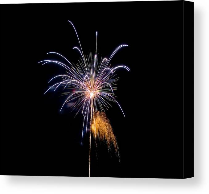 Fireworks Canvas Print featuring the photograph Purple Fire Flower by Devinder Sangha