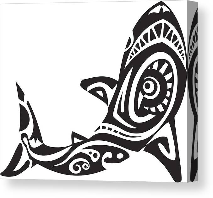 615f84ecfaf55 Underwater Canvas Print featuring the drawing Shark Tattoo In Maori Style. Vector  Illustration by Stas11