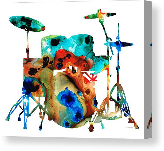 Drum Canvas Print featuring the painting The Drums - Music Art By Sharon Cummings by Sharon Cummings
