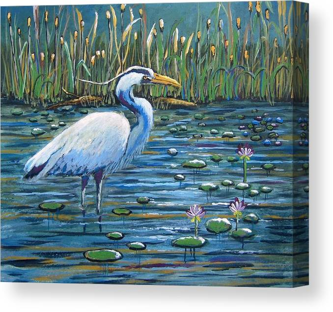 Great Blue Heron Canvas Print featuring the painting Waiting For Lunch by Suzanne Theis