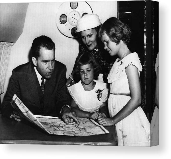 1950s Canvas Print featuring the photograph 1956 Us Presidency, Nixon Family. From by Everett