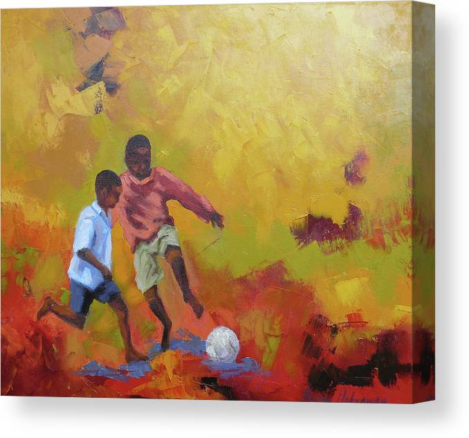 Africa Canvas Print featuring the painting Fifa 2014 Hopeful by Yvonne Ankerman