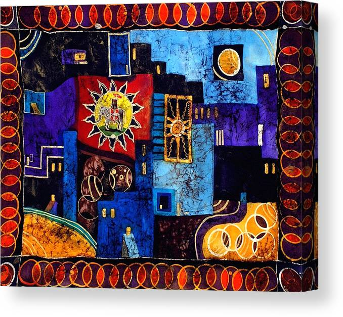 Silk Canvas Print featuring the tapestry - textile Jodhpur by Sandra Kern