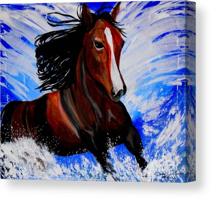 Horse Canvas Print Canvas Print featuring the painting Splash by Jayne Kerr