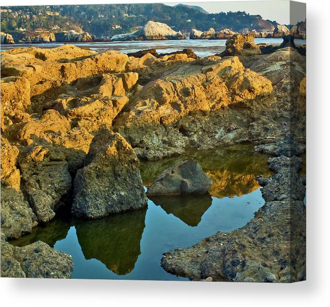 Canvas Print featuring the photograph Sunset Tidepool Larry Darnell Point Lobos Central California Landscape by Larry Darnell