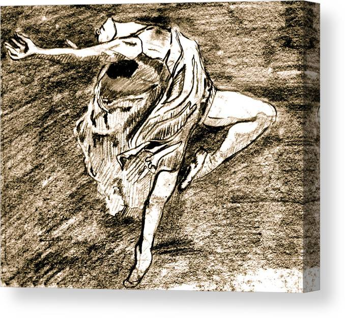 Sketch Canvas Print featuring the drawing Dancer by Dan Earle