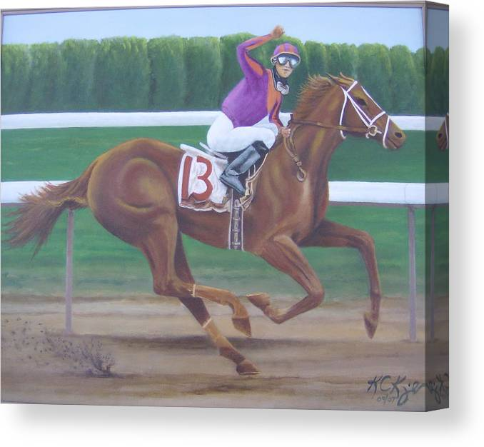 Racehorse Canvas Print featuring the painting Big Red by KC Knight