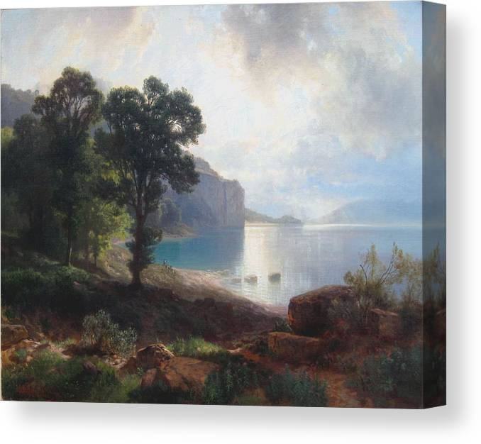 Johann Gottfried Steffan Canvas Print featuring the painting Tomorrow At Wallenstadtersee by MotionAge Designs