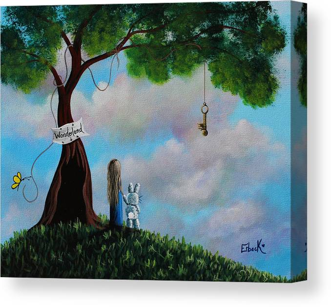 Alice In Wonderland Canvas Print featuring the painting Alice In Wonderland by Erback Art