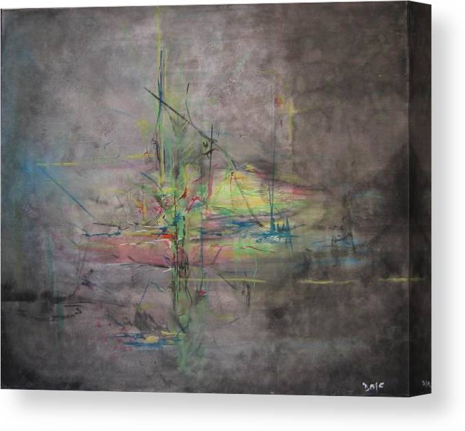 Abstract Canvas Print featuring the painting Awakening Abstract 1 Black Background Bright Detail by Lizzy Forrester