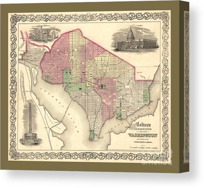 Beautiful Collectable Vintage Wall Map Of Old Washington Dc With Landmarks  And Monuments Canvas Print