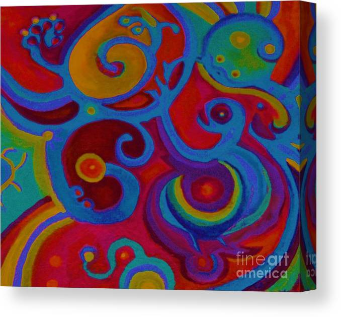Abstract Canvas Print featuring the painting Blue Corn Flower by Sidra Myers