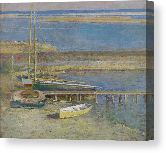 Theodore Robinson Canvas Print featuring the painting Boats At A Landing by Theodore Robinson