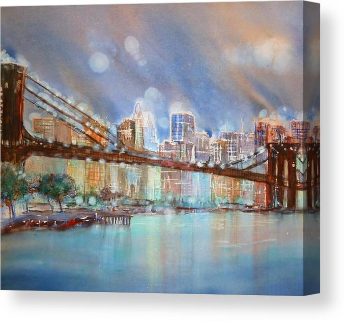 New York Canvas Print featuring the painting Brooklyn Bridge New York by Sabina Von Arx