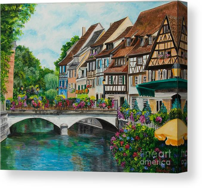 Colmar Canvas Print featuring the painting Colmar In Full Bloom by Charlotte Blanchard