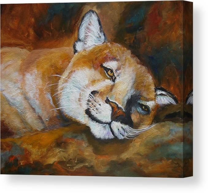 Mountian Lion Canvas Print featuring the painting Cougar Wildlife Painting by Mary Jo Zorad