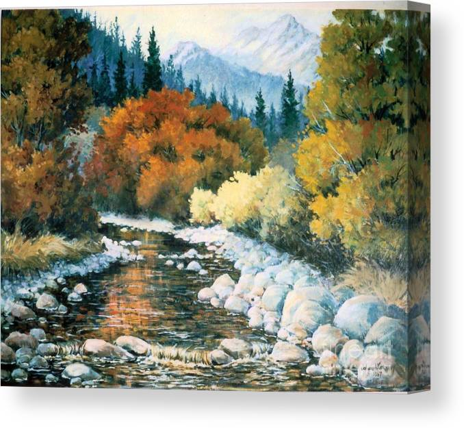 Trees Canvas Print featuring the painting Fire River by JoAnne Corpany