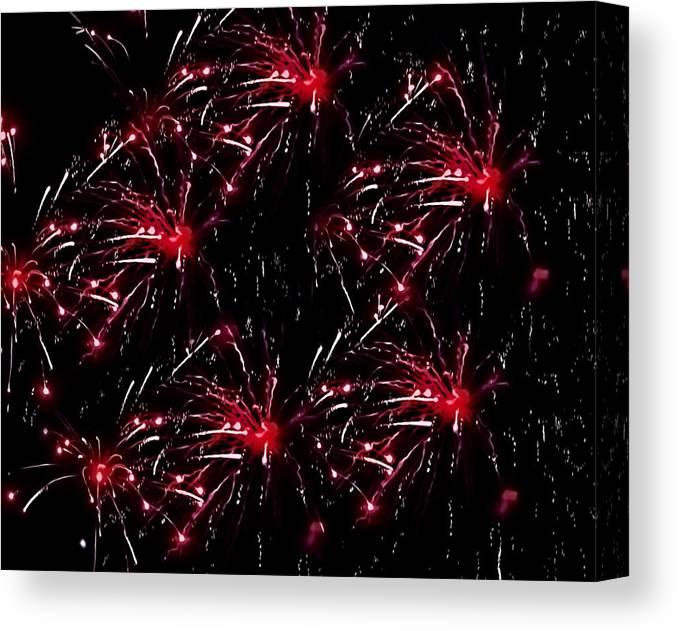 4th Of July Canvas Print featuring the photograph Fireworks - Red Bursts by Black Brook Photography