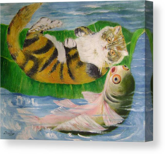 Surrealist Canvas Print featuring the painting Friends On Holiday by Lian Zhen