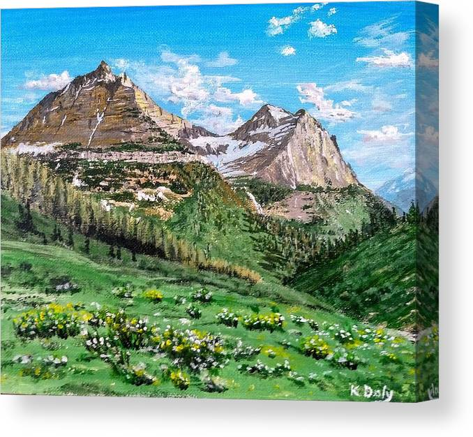 Mountains Canvas Print featuring the painting Glacier Summer by Kevin Daly