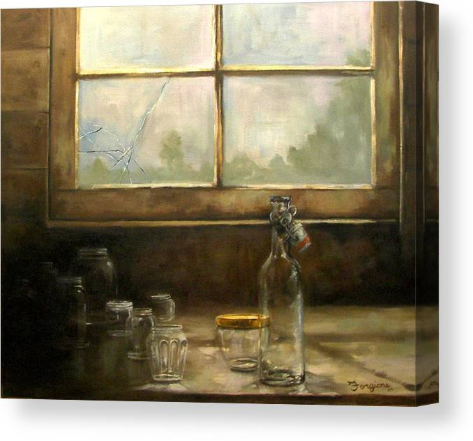 Glass Canvas Print featuring the painting Glass Jars By Window by Tom Forgione