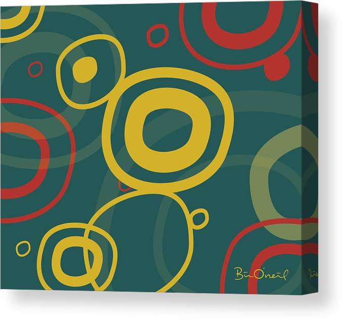 Retro Canvas Print featuring the print Gogo - Retro-modern Abstract by Bill ONeil
