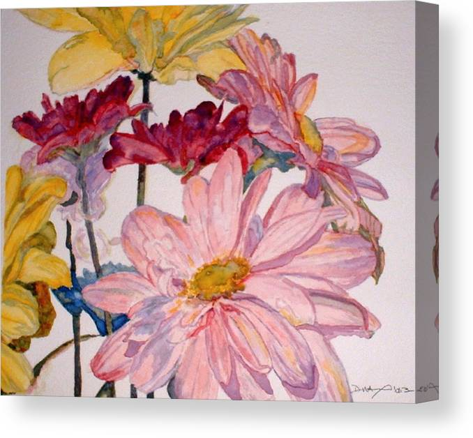 Floral Canvas Print featuring the painting He Loves Me - Watercolor by Donna Hanna