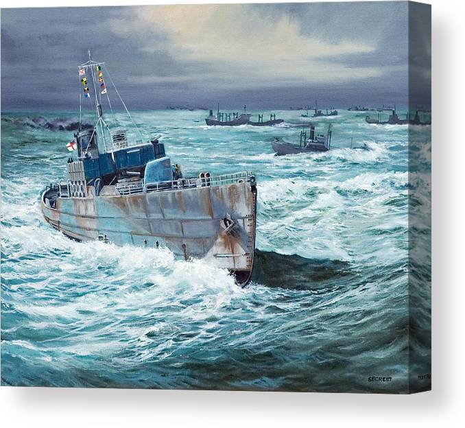 Hms Compass Rose Canvas Print featuring the painting Hms Compass Rose Escorting North Atlantic Convoy by Glenn Secrest