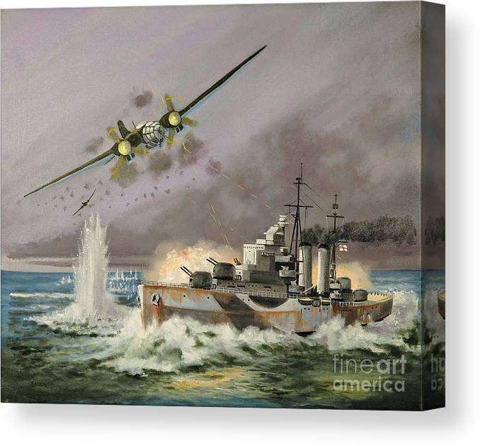 Ships That Never Were Canvas Print featuring the painting Hms Ulysses Attacked By Heinkel IIis Off North Cape by Glenn Secrest