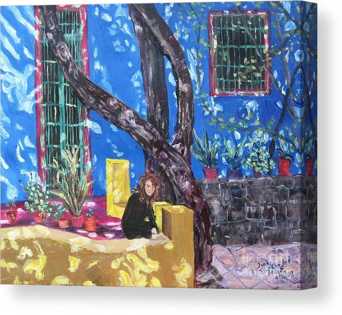 Blue Canvas Print featuring the painting Kahlo Blue - Sold by Judith Espinoza