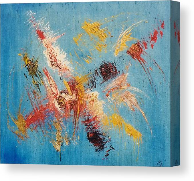 Blue Canvas Print featuring the painting Komposition Auf Blau by Michael Puya