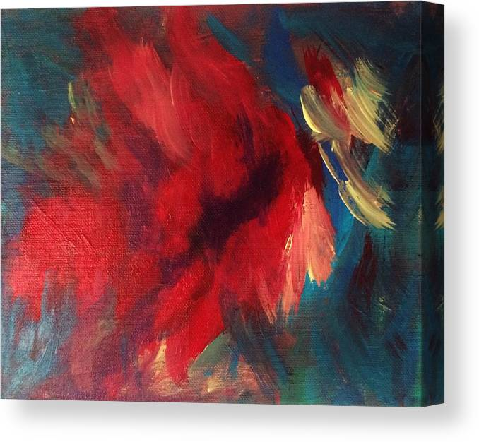 Abstract Canvas Print featuring the painting Love That Red by Glenda Collins