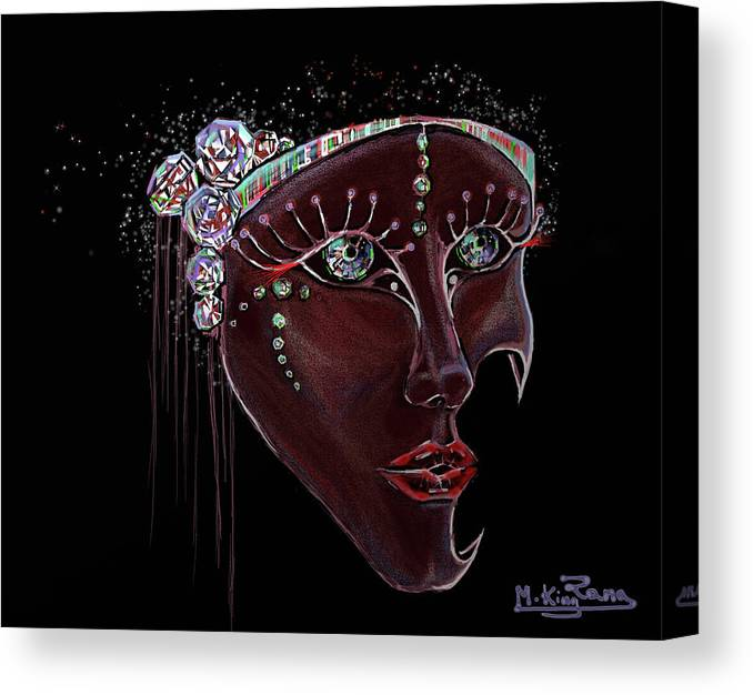 Mask Canvas Print featuring the digital art Mask Crystal by Rana King