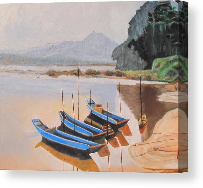 Mehkong Canvas Print featuring the painting Mehkong Fishing Boats by Keith Bagg