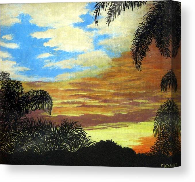 Sunrise-sunset Painting Canvas Print featuring the painting Morning Sky by Frederic Kohli