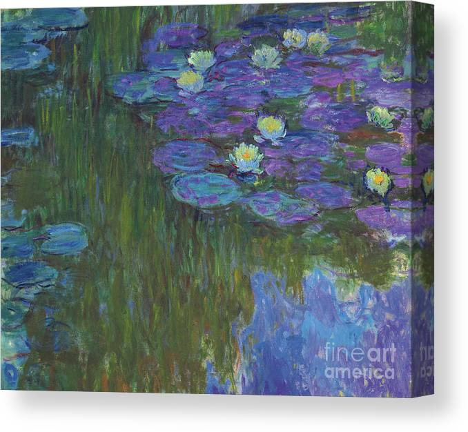 Claude Monet Canvas Print featuring the painting Nympheas En Fleur, 1914 To 1917 by Claude Monet