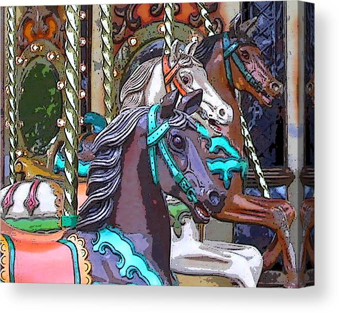 Carousel Canvas Print featuring the photograph Painted Ponies by Anne Cameron Cutri