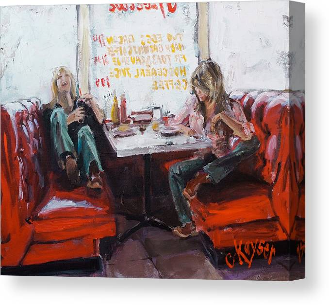 Women Canvas Print featuring the painting Red Booth by Claire Kayser