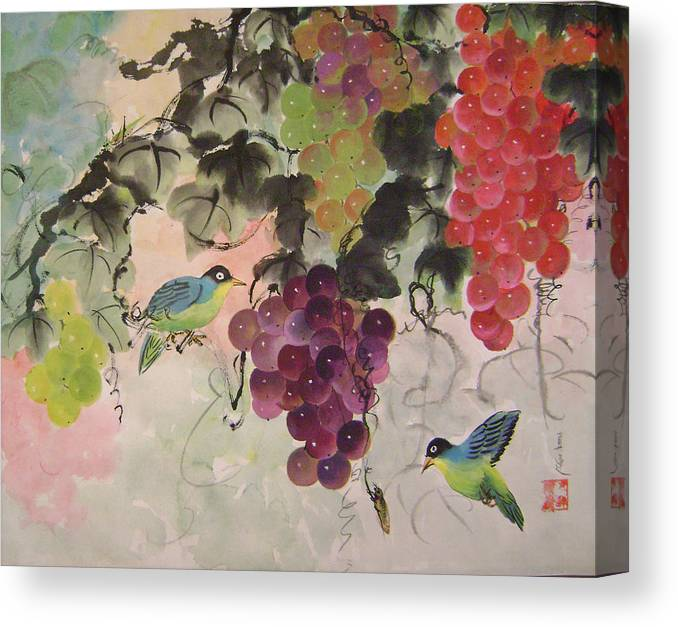 Water Colour Canvas Print featuring the painting Red Grapes And Blue Birds by Lian Zhen