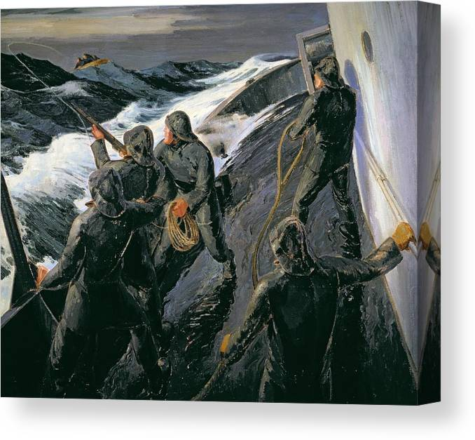 Rescue - Firing A Costen Gun Line (oil On Canvas) By Thomas Harold Beament (1898-1985) Canvas Print featuring the painting Rescue by Thomas Harold Beament