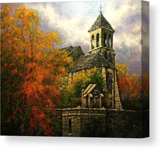 Paris Canvas Print featuring the painting Sacred Heart Chapel Paris by Jim Gola