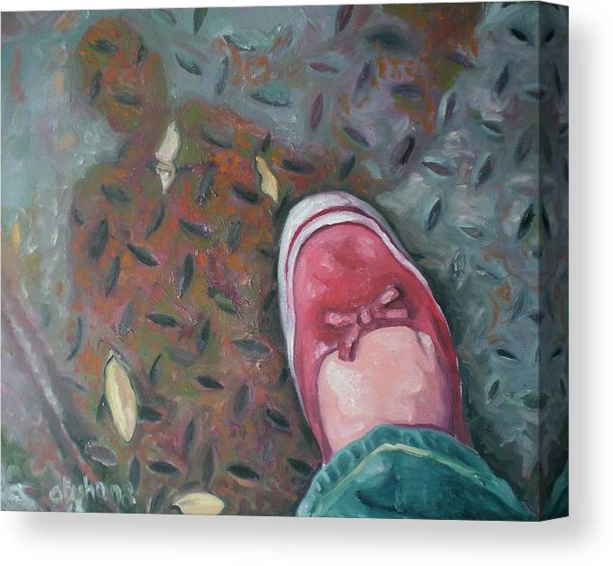 Canvas Print featuring the painting Selfportrait Red Shoe by Aleksandra Buha