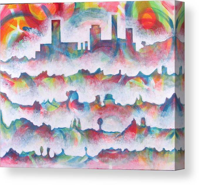 Cityscape Canvas Print featuring the painting Skyline by Rollin Kocsis