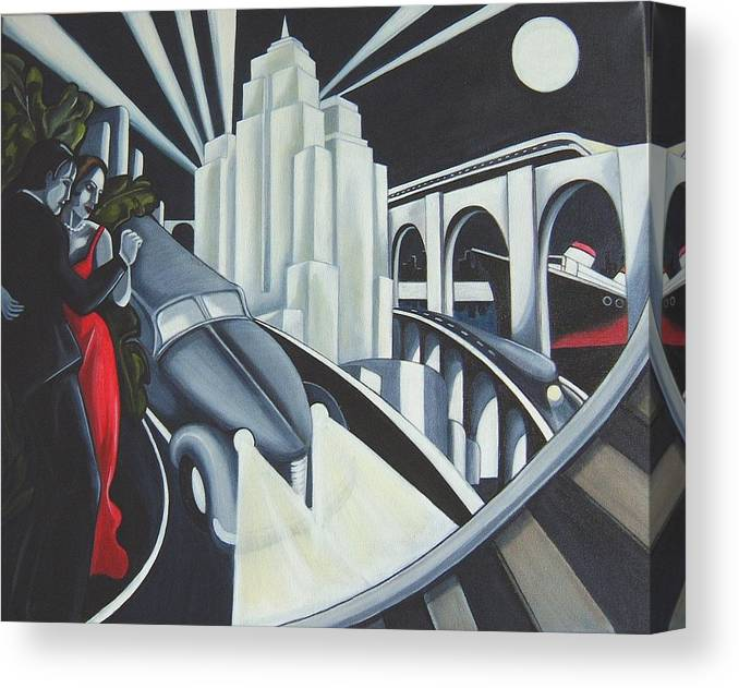 Art Deco Canvas Print featuring the painting Speed by Rosie Harper