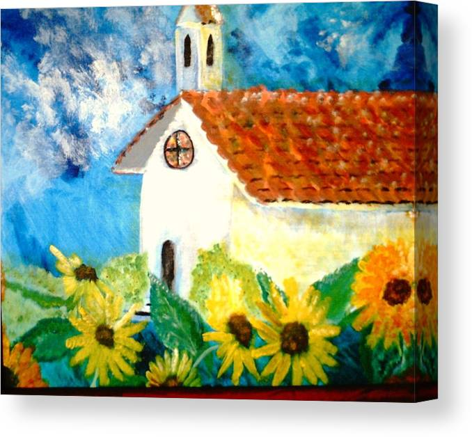 Church Canvas Print featuring the painting Sun Flowers Dance At San Marin by J Bauer