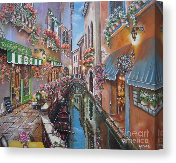 Venice Canvas Print featuring the painting Venice Canal Reflections by Elizabeth Gomez