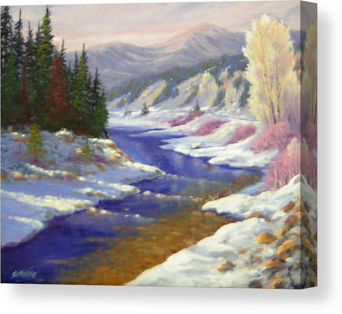 Landscape Canvas Print featuring the painting Winter Revisited 070712-97 by Kenneth Shanika